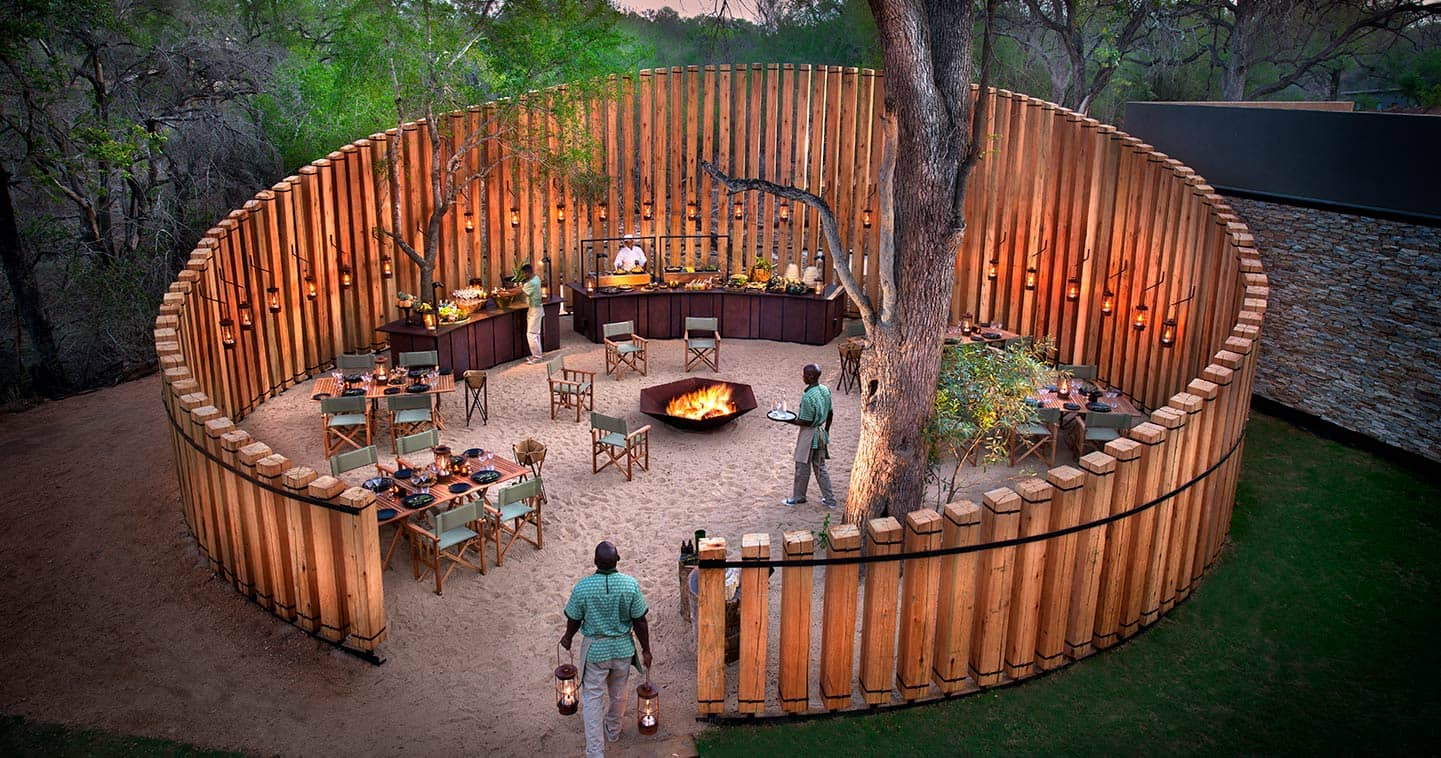 The boma at AndBeyond Tengile Lodge in Sabi Sands