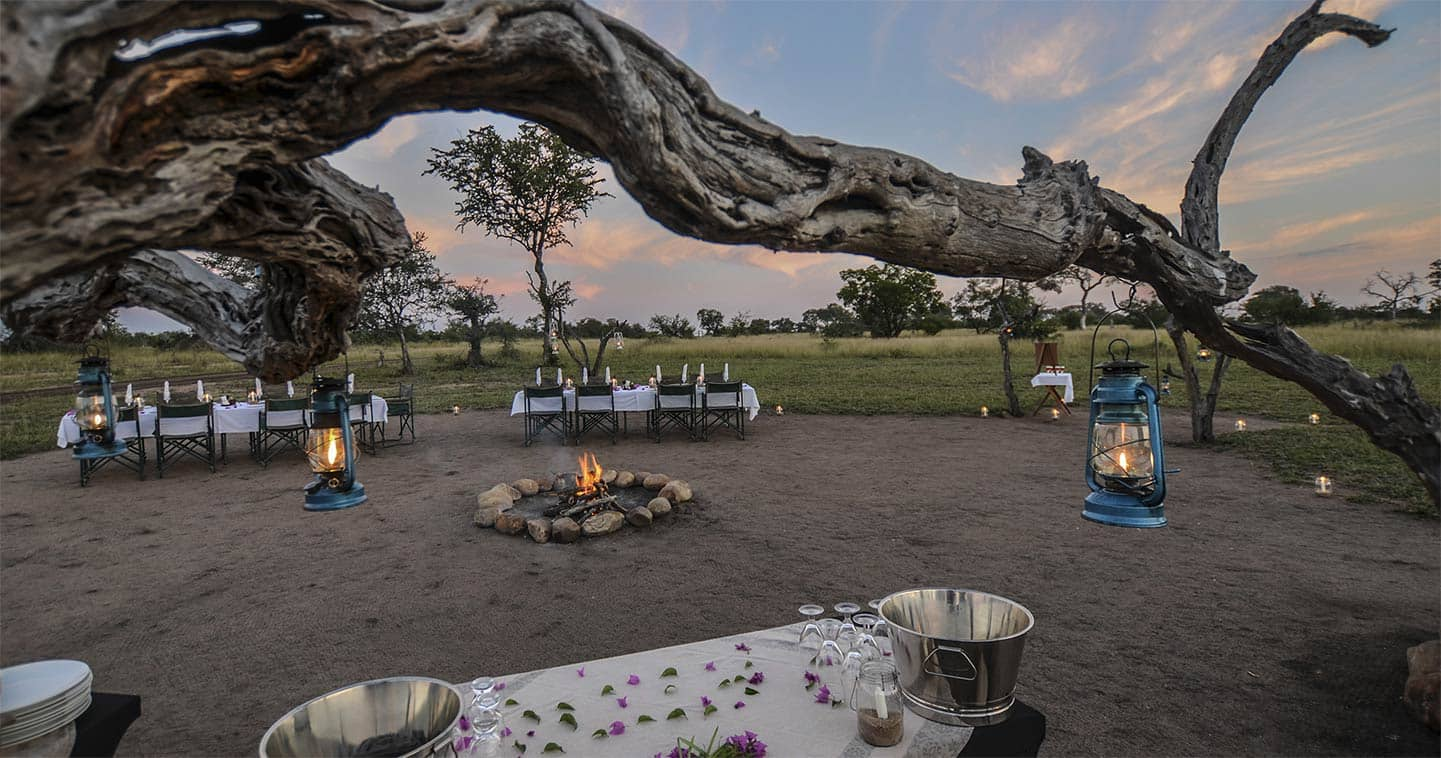 Safari dinner under the stars in the boma at Nkorho