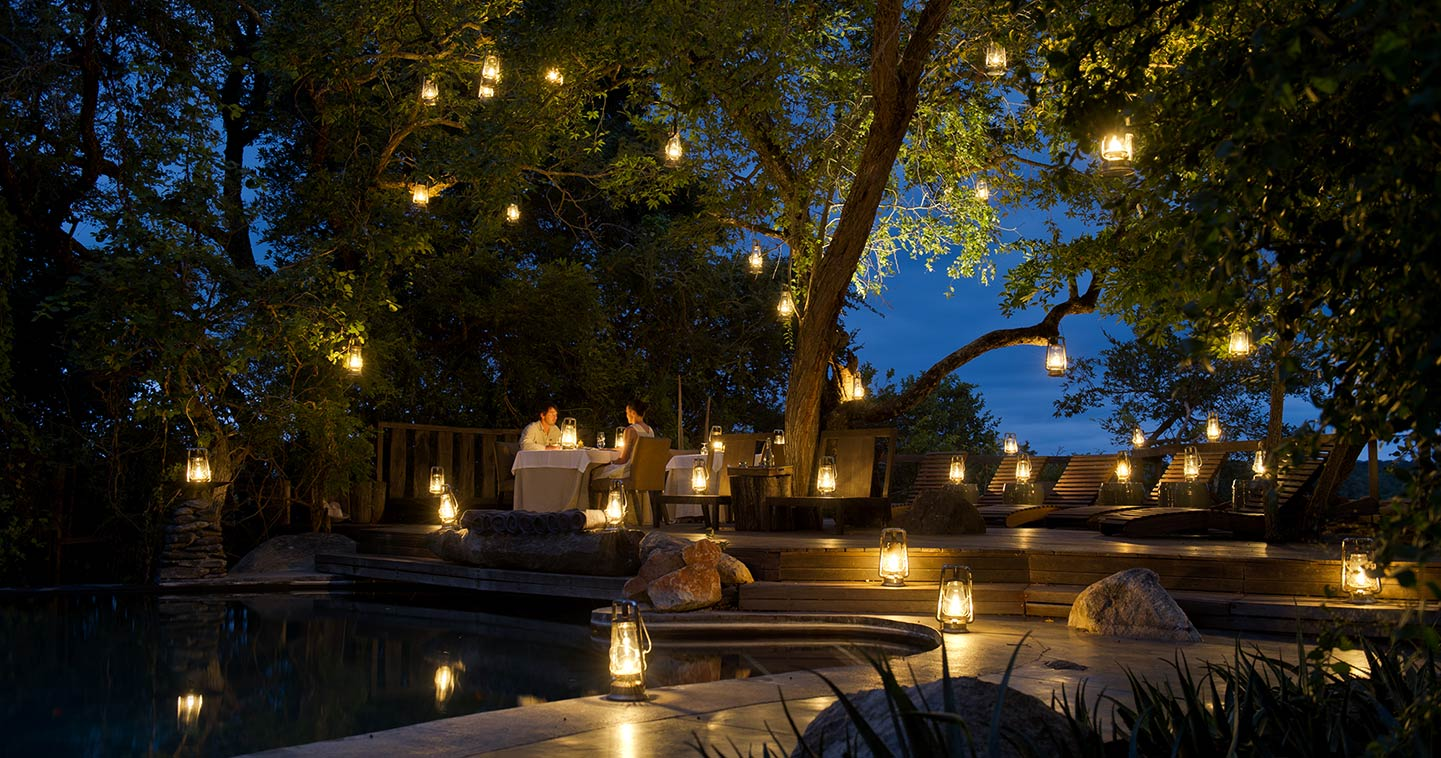 Dining in a luxury setting at Singita Boulders