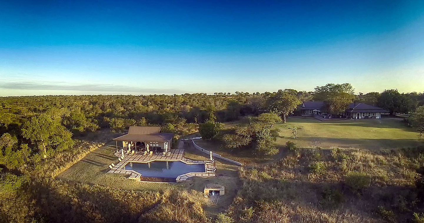 Kirkman's Kamp pool in Sabi Sands from the air