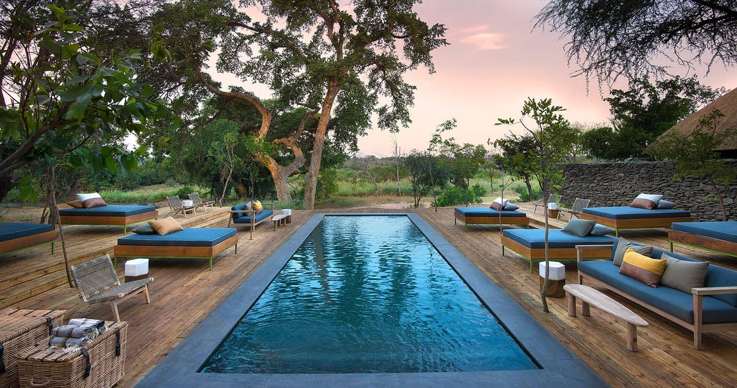 Lion Sands River Lodge swimming pool in Sabi Sands for the ultimate safari experience