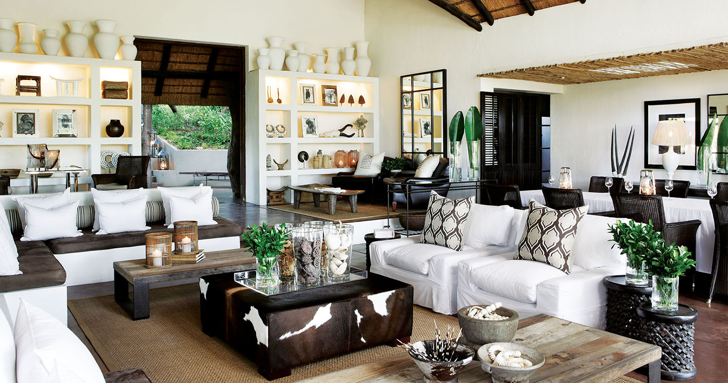 The lounge at Londolozi Tree Camp