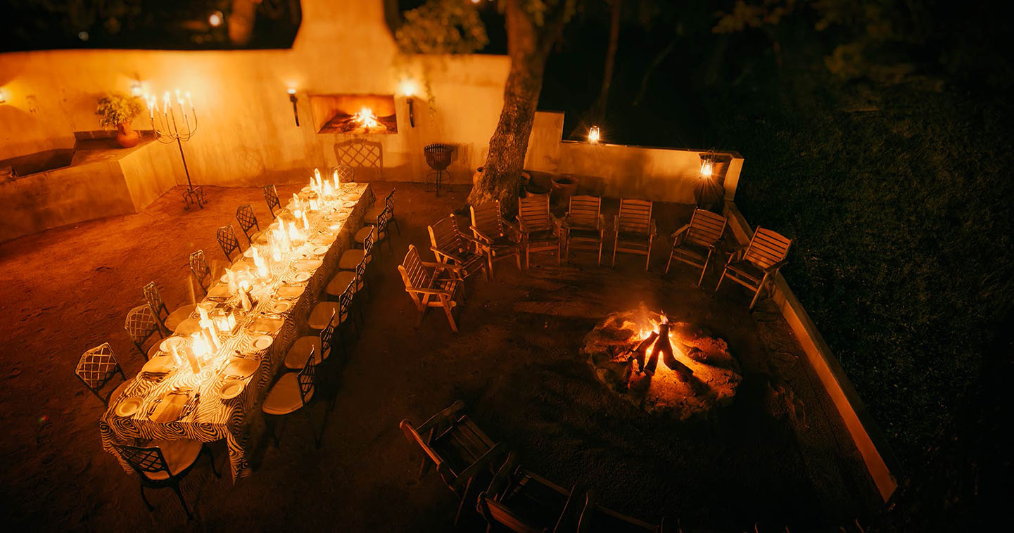 The boma at Notten's Bush Camp in Sabi Sands Private Game Reserve