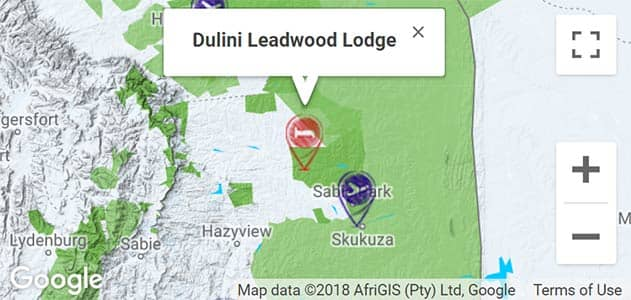View Dulini Leadwood Lodge on the map in Sabi Sands