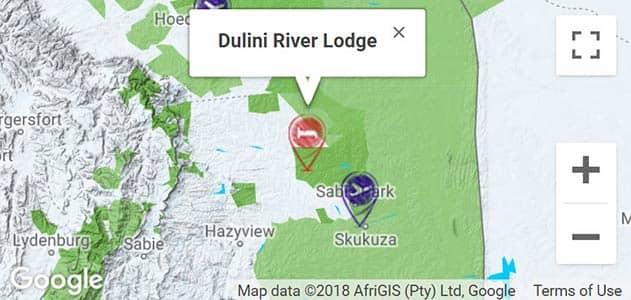View Dulini River Lodge on the map in Sabi Sands