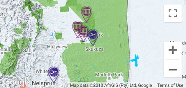 View airports and access gates on the map in Sabi Sands