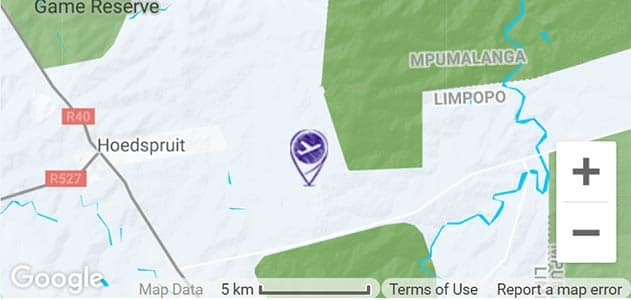 View Hoedspruit Airport on the map in Sabi Sands