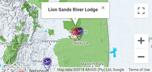 View Lion Sands River Lodge on the map in Sabi Sands