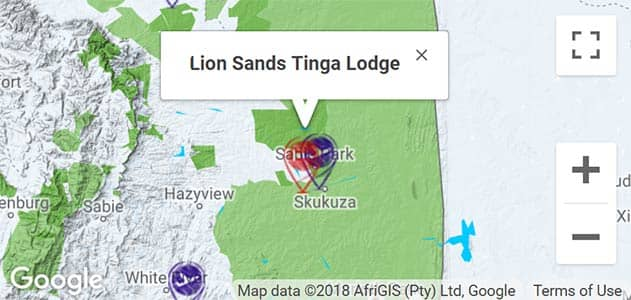 View Lion Sands Tinga Lodge on the map in Sabi Sands