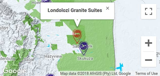 View Londolozi Granite Suites on the map in Sabi Sands