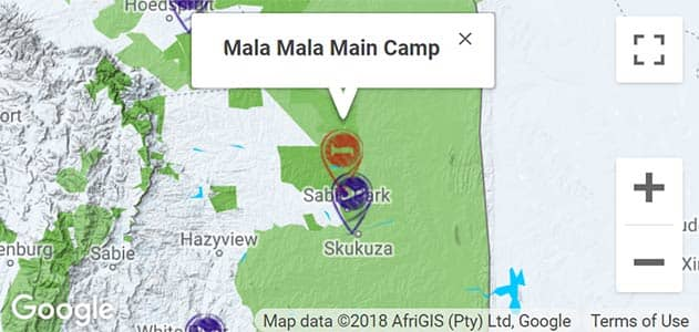 View MalaMala Main Camp on the map in Sabi Sands