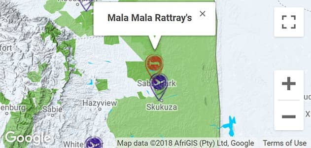 View MalaMala Rattrays on the map in Sabi Sands