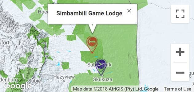 View Simbambili Lodge on the map in Sabi Sands
