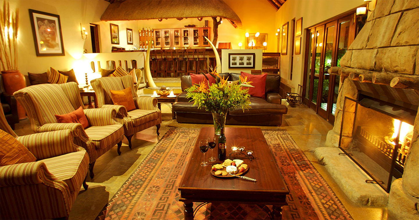 Elephant Plains Lodge lounge in Sabi Sands Game Reserve