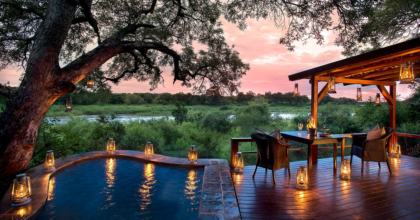 Private plunge pool at Lion Sands Tinga Lodge in Sabi Sands